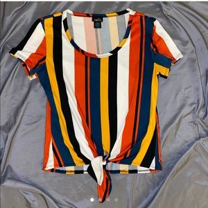 colorful striped top w front knot tie